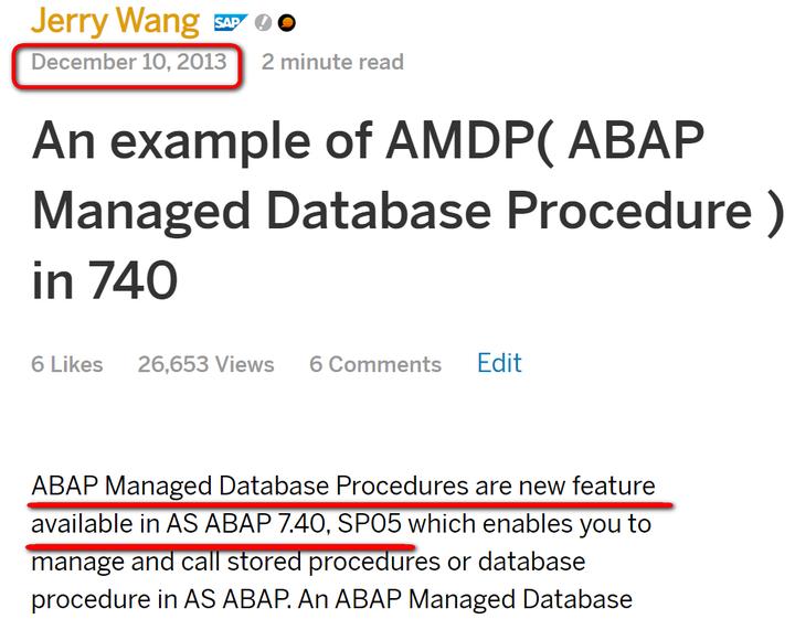 SAP AMDP介绍 - ABAP托管的HANA数据库过程