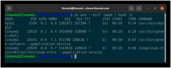 如何对Linux ps命令输出进行排序