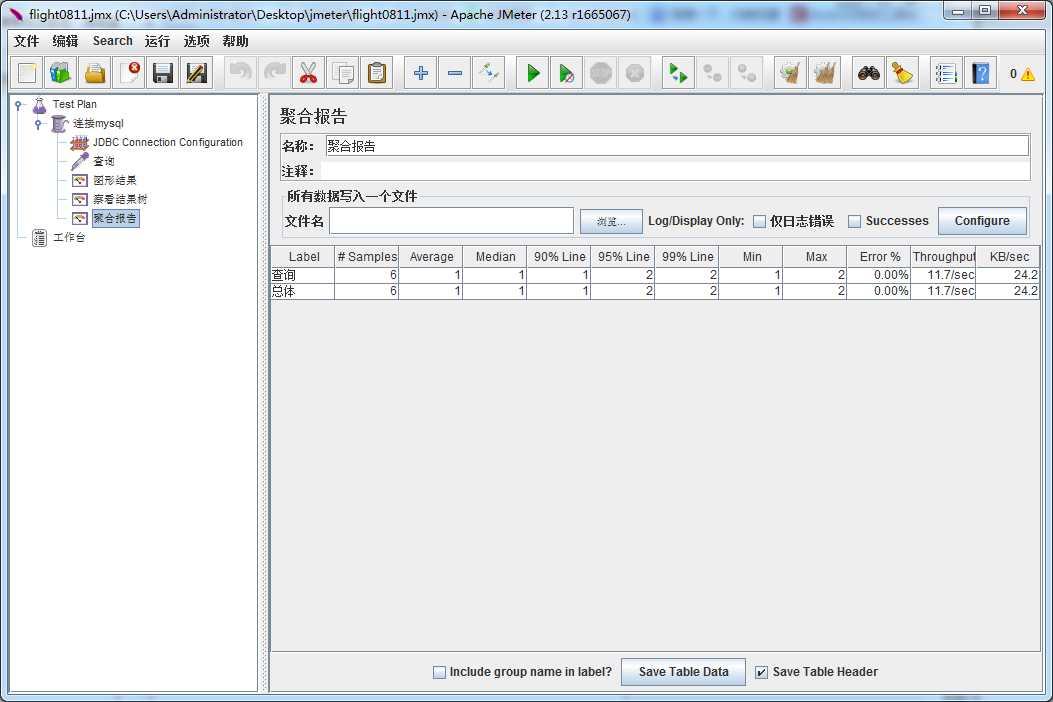 JMeter进行简单的数据库(mysql)压力测试